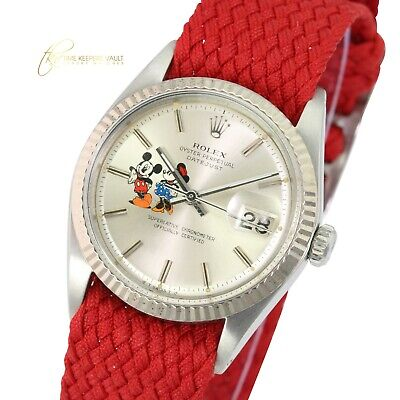 $ CDN5155.89 • Buy Rolex Mens Datejust  SS Silver Mickey Dial Fluted Bezel  Red Nylon  Band Watch