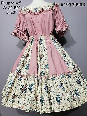 2 Pc Square Dance Dress Dusty Rose Pink Ruffles Floral Lovely! Beautiful!  • 30$
