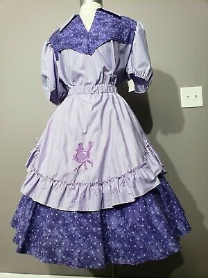 Purple Square Dance Dress 3 Piece Dancers & Music Notes Embroidered • 22$
