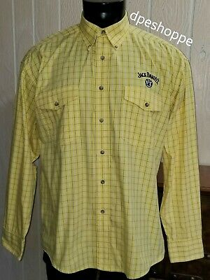 Jack Daniels Old No. 7 Yellow Plaid Embroidered Long Sleeve Button Shirt Sz L • 16.99$