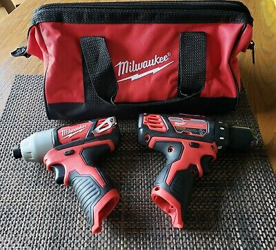 New Milwaukee Hex Impact Driver 1/4  M12 12V & New 3/8  Drill Driver Tools Only • 61$