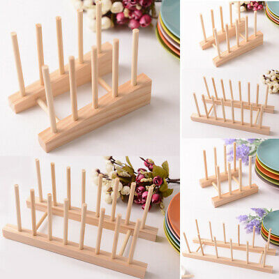 Durable Wooden Dish Rack Kitchen Storage Drying Holder Drainer Plate Cup Stand • 5.35£