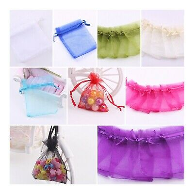 £2.58 • Buy 25 / 50 ORGANZA BAGS Wedding Party Favour Gift Candy Jewellery Pouch Large Small