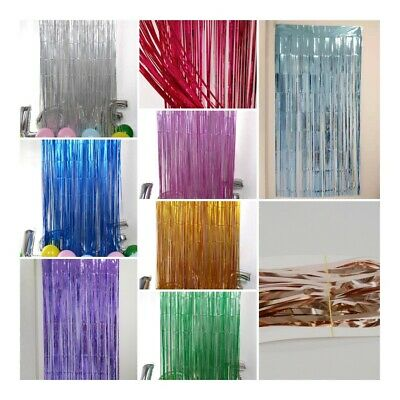 2M Foil Fringe Tinsel Shimmer Curtain Door Wedding Birthday Party DECORATIONS • 2.99£
