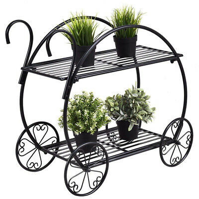 2 Tiers Cart Shape Metal Flower Pot Stand With Handle For Garden Decoration BG • 35.92$