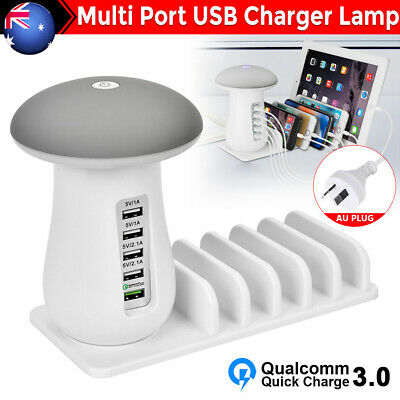 AU26.95 • Buy 5 Multi Port USB Hub Quick Charger Mushroom Lamp Fast Charging Dock Station