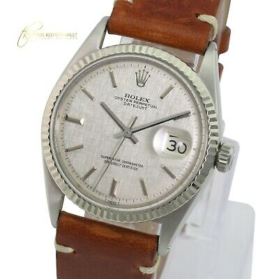 $ CDN4856.99 • Buy Rolex Mens Datejust SS 36mm Silver Linen  Dial  Fluted Bezel Brown Leather Watch
