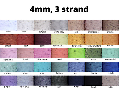 AU45 • Buy 4mm Macrame Cord Twisted Rope Coloured String 3 Strand Ply Cotton Diy Australia