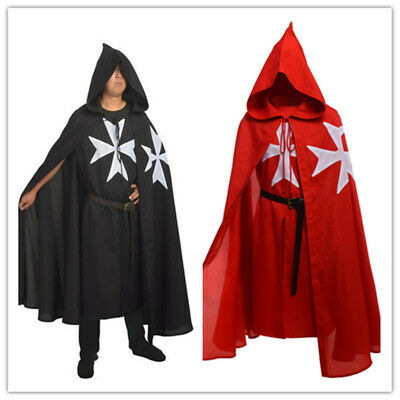 Medieval Knights Hospitaller Tunic Cloak Cape Belt Gothic Costume Cosplay • 11.34£