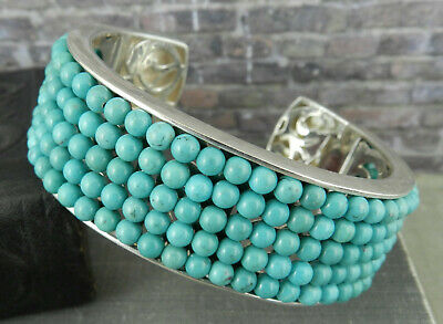 $ CDN297.44 • Buy Modern Signed WK 925 Sterling Silver & Turquoise Beaded Hinged Cuff Bracelet
