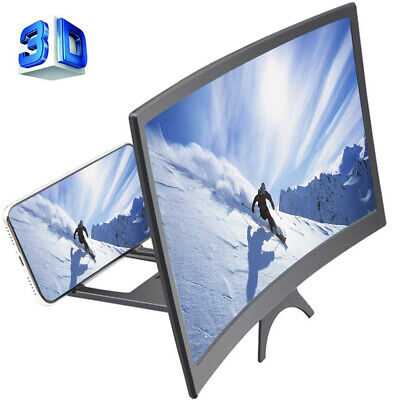 12  Curved Screen Phone Magnifier 3D HD Video Movies Amplifier Holder Projector • 4.99£