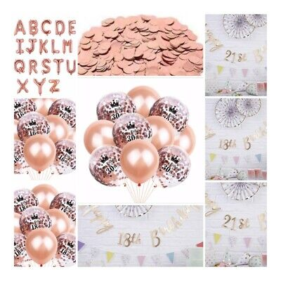 £3.68 • Buy Rose Gold Happy Birthday Bunting Banner Balloons 18/21st/30/40/50 Party Decor