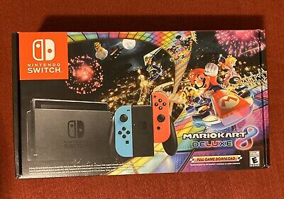 Nintendo Switch With Blue And Red Joy-Con Controllers And Mario Kart 8 Bundle • 300.01$