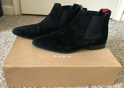 Zara Man Size 42 US 9 Black Leather Suede Ankle Chelsea Boots • 37$