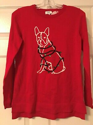 $10.50 • Buy Crown & Ivy-Red Sweater W/Cute Dog & Christmas Lights-Size XS