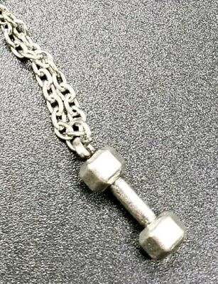 $9.99 • Buy Dumbbell Charm Weightlifting Weightlifter's Silver Tone Necklace  Men's Women