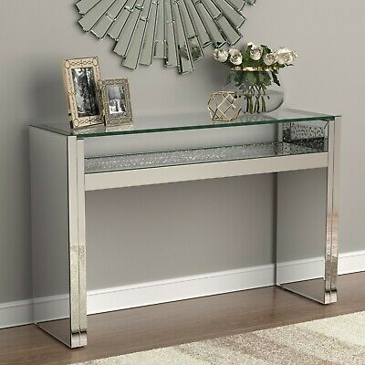 $999.99 • Buy Modern Glam Mirrored Entryway Console Table Acrylic Sparkle Inlay & LED Light