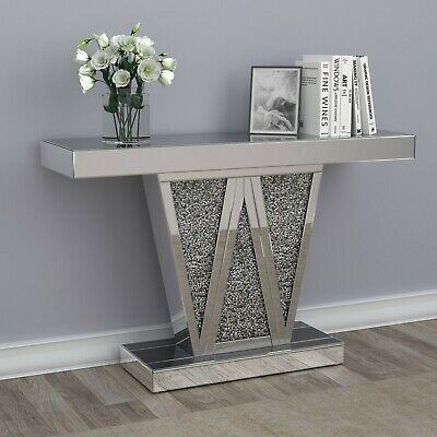 $899.99 • Buy Modern Glam Mirrored Entryway Console Table Pedestal Base Acrylic Sparkle Inlay