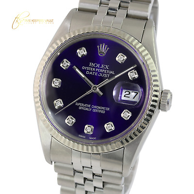 $ CDN5427.61 • Buy  Rolex Men's Datejust 16014 Stainless Steel Purple Dial Fluted Bezel  36mm Watch