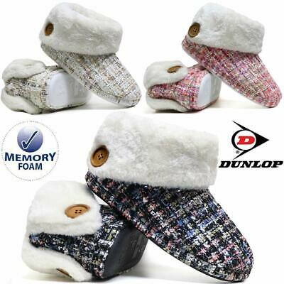 £11.95 • Buy Ladies Slippers Women Dunlop Memory Foam Fur Thermal Ankle Boots Warm Shoes Size