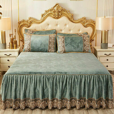 Lace Velvet Queen Size Fitted Bed Sheets Bedspread Embossing Bed Skirt Cover New • 68.13£