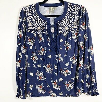 $ CDN32.36 • Buy Anthropologie One September XS Womens Embroidered Floral Lace Up Popover Blouse