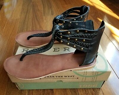 $29 • Buy $70 Womens ROPER Black Gladiator Sandals Thongs Western Boots Braided Studded