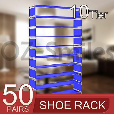 AU21.21 • Buy 50 Pairs 10 Tiers Stackable Storage Shoe Rack Cabinet Organiser Fabric Blue