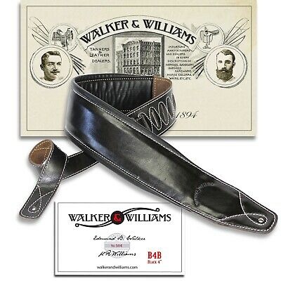 """$ CDN59.42 • Buy Walker & Williams B4B Extra Wide 4"""" Black Leather Double Padded Guitar Strap"""