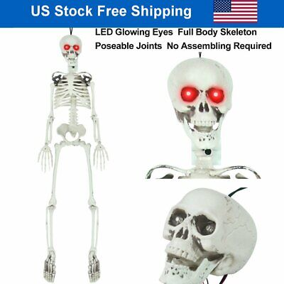 $25.86 • Buy 3FT Life Size Posable Sound Activated LED Glowing Eyes Skeleton Halloween Decor
