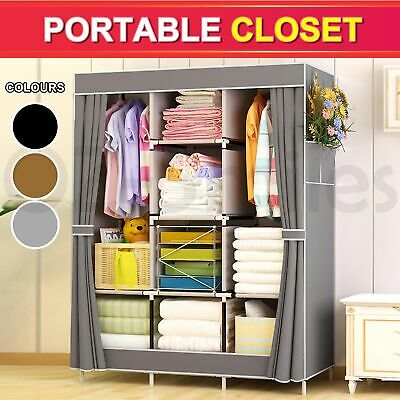 AU39.22 • Buy Large Portable Clothes Closet Canvas Wardrobe Storage Organizer With Shelves