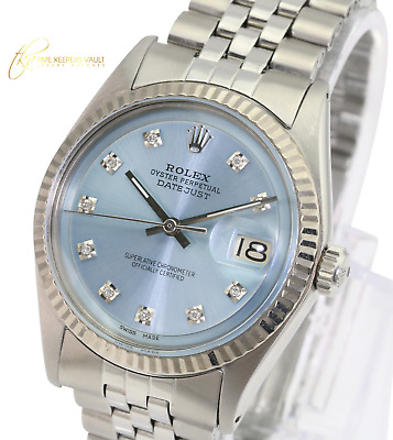 $ CDN4889.60 • Buy Rolex Mens Datejust  Stainless Steel 1601 Ice Blue Dial Fluted Bezel 36mm Watch