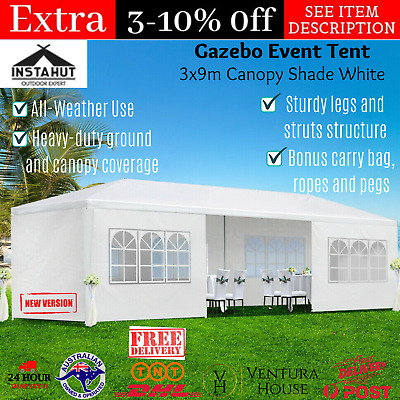 AU136.03 • Buy Instahut Large Outdoor Gazebo Wedding Pop Up Party Marquee Shade Tent Canopy Set