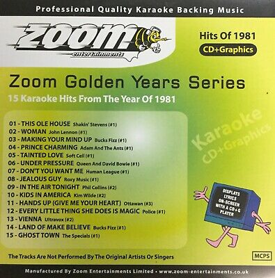 £6.99 • Buy Zoom Golden Years CDG Disc- Karaoke Hits From The Year 1981