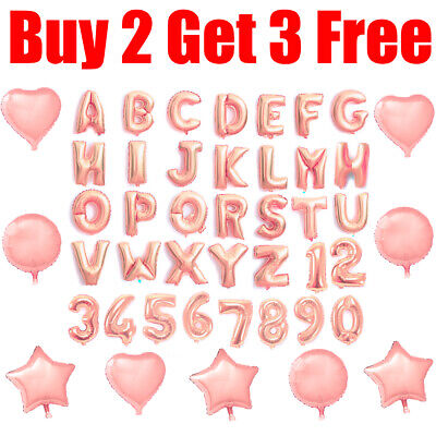 Rose Gold Alphabet A-Z Letter & Number Foil Balloon NAME PARTY WEDDING Balloons • 1.09£
