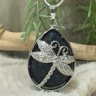 AU21.95 • Buy Aromatherapy Essential Oil Diffuser Lava Stone Dragonfly Necklace - Black