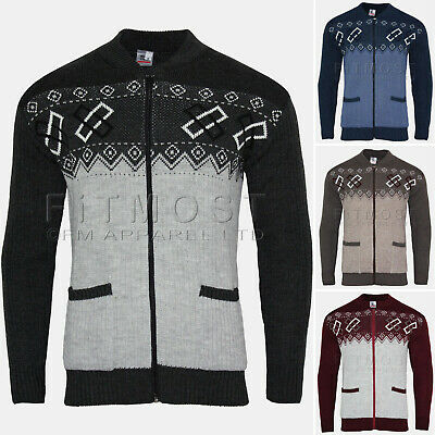 Mens Knitted Cardigan Zip Front Classic Aztec Style Two Tone Front Pocket Top  • 12.95£