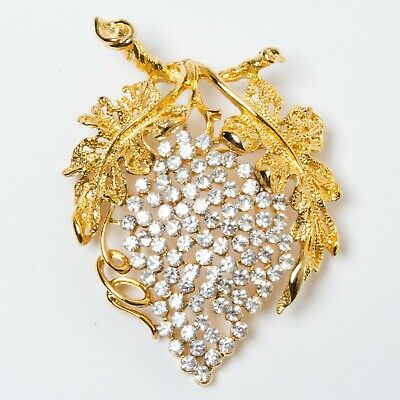 $64.98 • Buy Vintage Signed M Jent Costume Jewelry Brooch Gold Tone & Rhinestone Grapes Pin