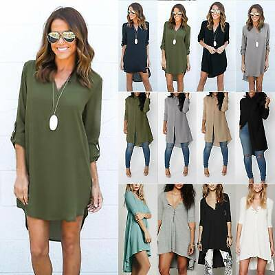Womens Casual Loose T Shirt Top Blouse Ladies Long Sleeve Oversize Shirt Dress • 9.79£