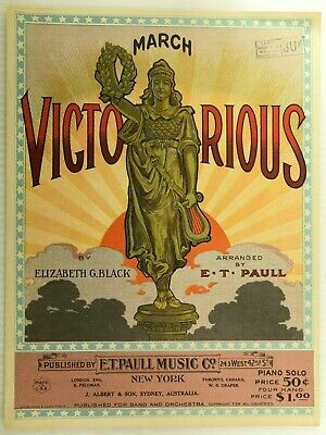 $57.50 • Buy 1923 March Victorious E.t. Paull Vintage Sheet Music M50