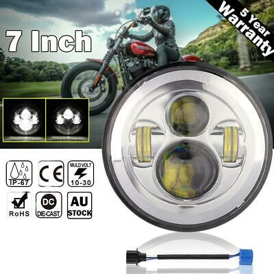 AU45.46 • Buy DOT 7  Inch LED Headlight Motorcycle Projector Chrome For Harley Yamaha Honda