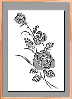 £3.99 • Buy Rose Flower Floral A5 A4 A3  Mylar Reusable Stencil Airbrush