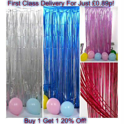 2M-3M Foil Fringe Tinsel Shimmer Curtain Door Wedding Birthday Party DECORATIONS • 2.99£