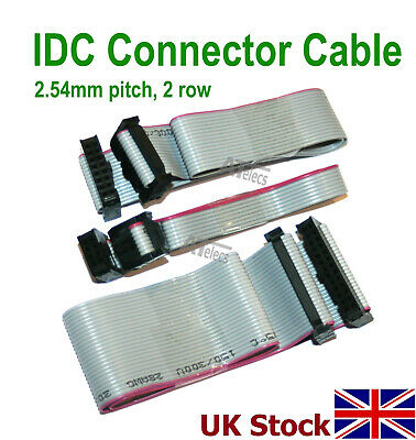 IDC Header Jumper Connector, 2.54mm Pitch, 2 Row, 30cm Flat Ribbon Cable, Female • 2.64£