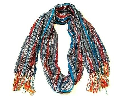 $9.89 • Buy Womens Oblong Scarf Fringed 65  Striped Blue Multi-Color Metallic Thread