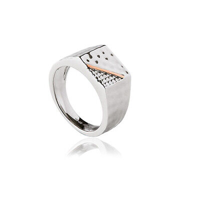 £59 • Buy NEW Welsh Clogau Silver & Rose Gold Mens Dragon Scale Ring £100 Off! SIZE S
