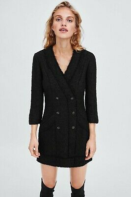 $55 • Buy Zara Womens Black Tweed Blazer Dress Size XL Metallic Fringe Double Breasted New