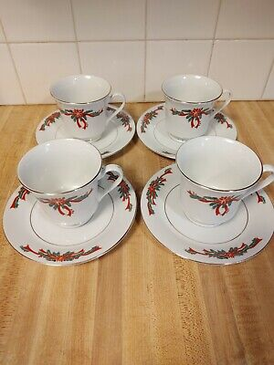 $14.95 • Buy TIENSHAN Poinsettia And Ribbons Fine China Set Of 4 Cup & Saucer Gold Trim