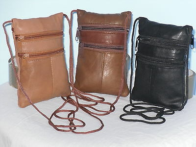 Neck Bag/Purse/ Pouch With 3 Zips String Strap In Soft Sheep Nappa Leather. • 7.98£