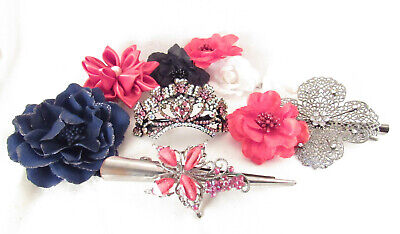 $7 • Buy Lot Of 10 Silk Rhinestone Flowers Hair Clips Barrettes Accessories RED BLUE